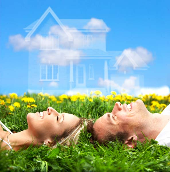 A picture of a man and woman lying in a field